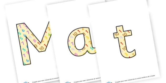 maths - display lettering - Maths Area Primary Resources, maths is fun, signs, labels, areas