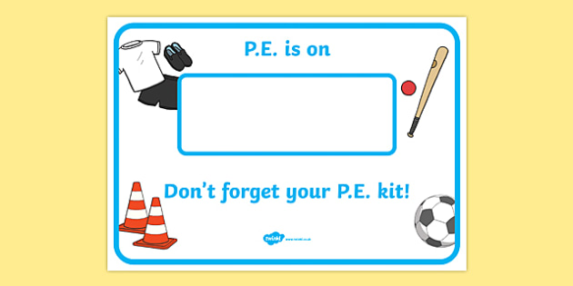 PE reminder - display lettering - PE (Physical Education) Primary Resources, physical development