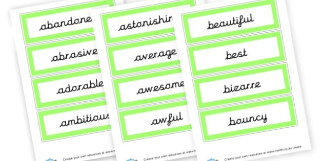 adjectives 1 - Adjectives Primary Resources, cll, wow, keywords, describing words