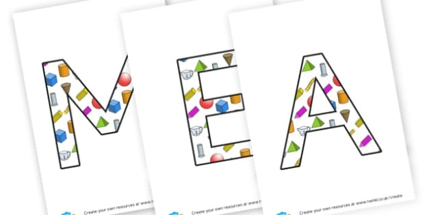 Measurement - display lettering - Shapes, Spaces & Measures Primary Resources, maths, 3D, 2D, shapes