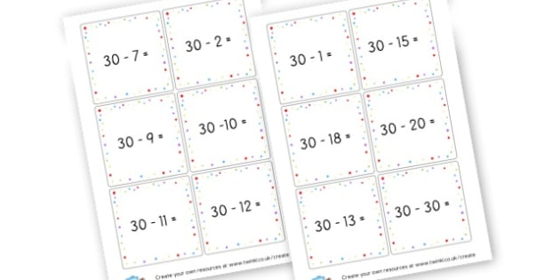 Subtraction 30 Cards - Subtraction Primary Resources, minus, less, activities, calculate