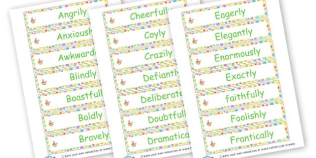 Adverb Word Cards - Verb Primary Resources, verbs, noun, adjective, wow, keywords