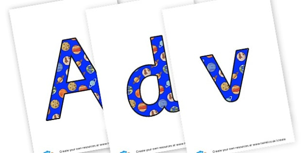 Space Lettering - Space Display Primary Resources, Space, planets, Sun, moon, star