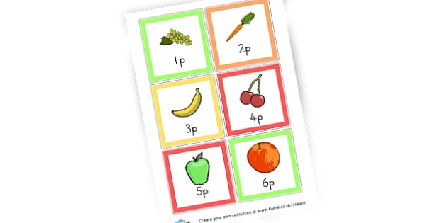 Fruit Prices Cards - Fruit and Vegetable Shop Role Play Primary Resources, produce