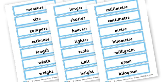 Measuring Key Vocab Cards - Measurement - New 2014 Curriculum, 2014, Maths, Measurment, Math