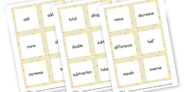 Maths Vocab Cards - Maths Primary Resources, maths games, numbers, counting, money