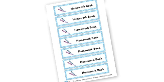 Homework book - Book Labels Primary Resources - pupil, folder labels, book covers
