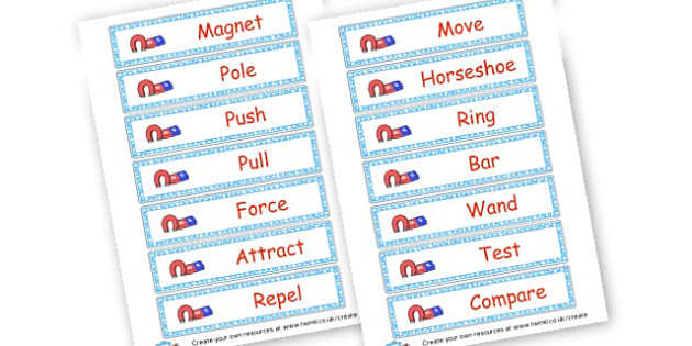 Forces and Magnets Vocabulary Year 3 - Forces and Magnets - New 2014 Curriculum, Year 3, Science, 2014