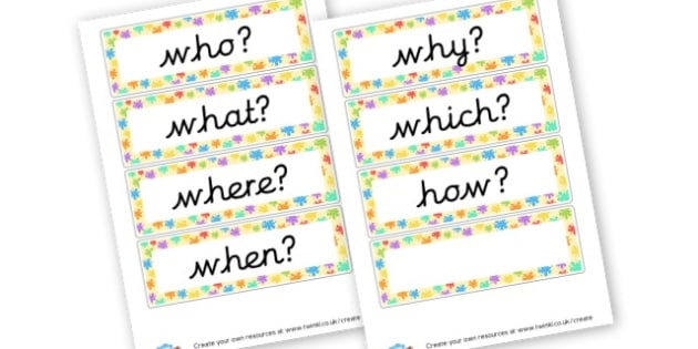 Question Words - Question Words Primary Resources, question, interrogative, words