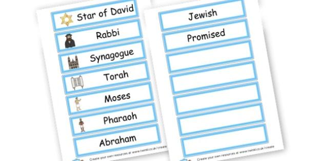Judaism Word Cards - Judaism, Literacy,  Primary Resources, religion, faith, synagogue