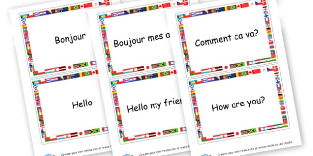French Greeting Flashcards. - French Literacy Primary Resources,French,Languages,Literacy,Words