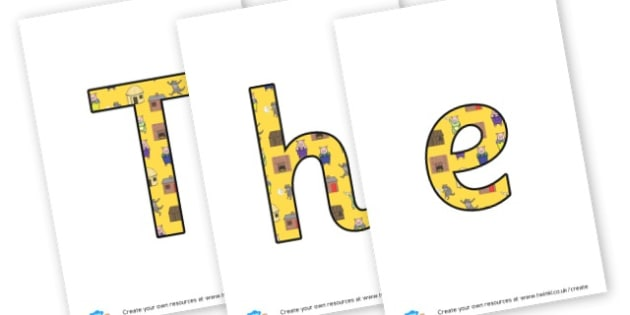 Three Little Pigs - display lettering - The Three Little Pigs Primary Resources, traditional tales