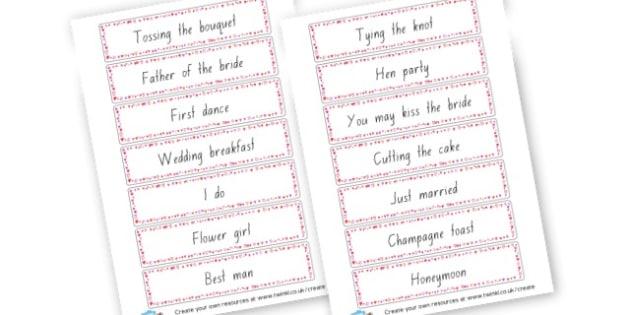 Wedding Word Cards - Weddings Primary Resources, wedding, cake, display, printable,