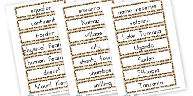 Kenya Word Cards - Kenya Primary Resources, Kenya, Nairobi, Africa, South Africa