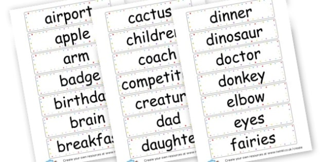 Noun Words Cards - KS2 Nouns, Words and Vocabulary, Literacy, KS2 English