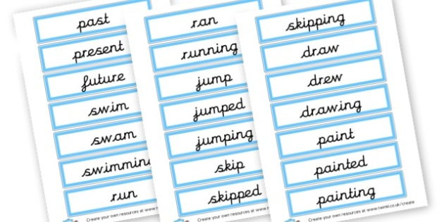 Verb Tenses Cards - KS2 Verbs and Adverbs Primary Resources, Verbs, Adverbs, KS2 Words