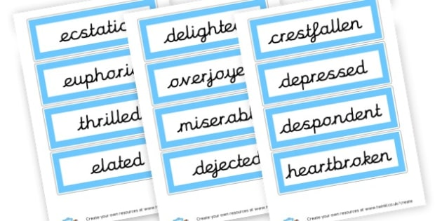 Describing Feelings Word List - SEN Feeling Charts Resources, Feelings, Emotions, Feeling Aids