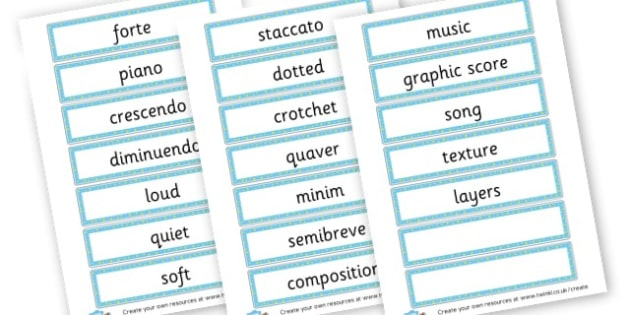 Music Key Word Cards - Music Primary Resources, musical instruments, musical sounds