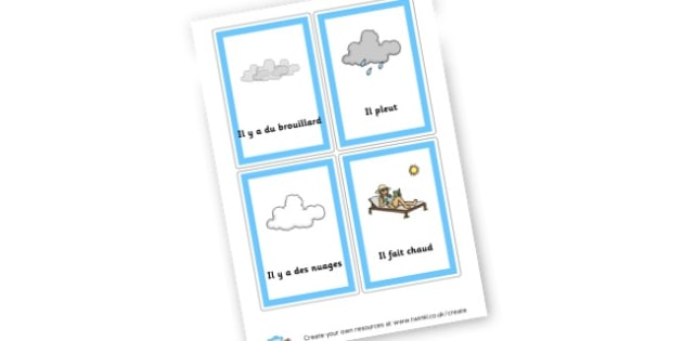 French Weather Cards - French Display Primary Resources,  French, Display, Languages