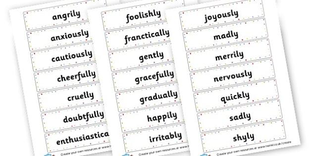 Variety of Adverbs Word Cards - KS2 Verbs and Adverbs Primary Resources, Verbs, Adverbs, KS2 Words