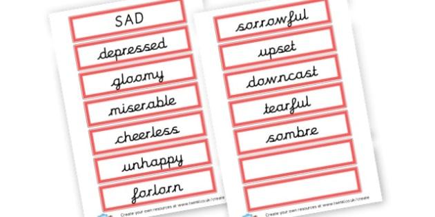 Alternative Words For Sad - Grammar Activity Primary Resources, grammar aids, activities