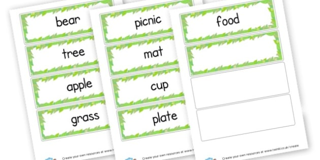 Teddy Bears Picnic Word Cards