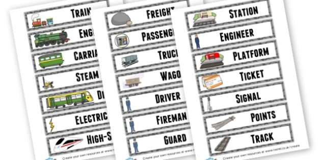 Trains Topic Terminology Cards - Transport Literacy Primary Resources, letters, letter, sounds