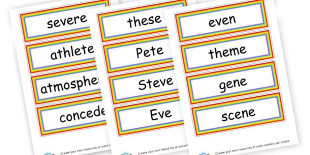 e_e Word Flashcards - Phase 5 Visual aids Primary Resources, Phase One, Letters, sounds