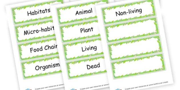 Habitats Word Cards - Habitats & Environments Primary Resources, Habitats, Environments