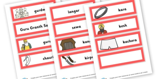 Sikh Vocab Cards - KS2 Sikhism Visual Aids Primary Resources, Religion, Sikhism, RE