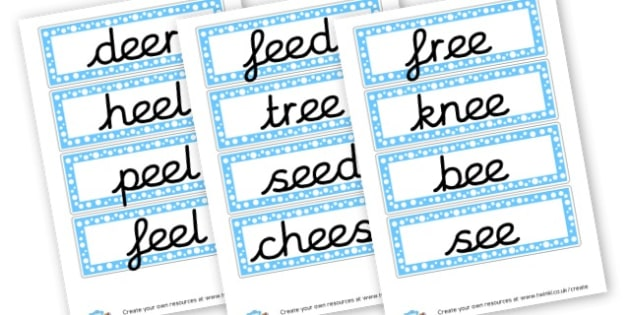 ee Sound Words Cards - Sound Families Primary Resources, sound, sounds, sound family
