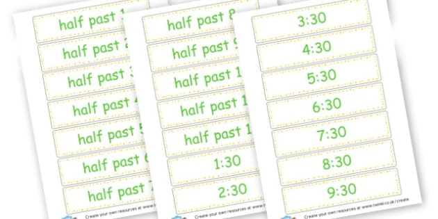 Half Past Time Cards - time, resource, Home School, alphabet, literacy, numeracy, a-z