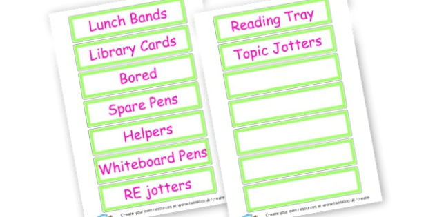 Tray Labels  - Drawer & Peg Name Labels Primary Resources, Name Label, Label, Peg