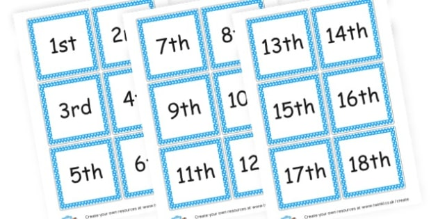 Numbers for Calendar