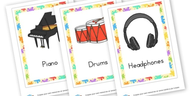 Music Instruments Cards - Listening & Music Area Primary Resources, signs, area, zones