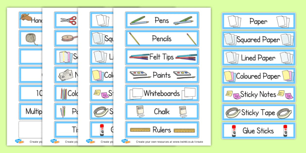 Editable Classroom Equipment Tray Labels - display lettering - Classroom Signs & Label Primary Resources, labels, posters, rules