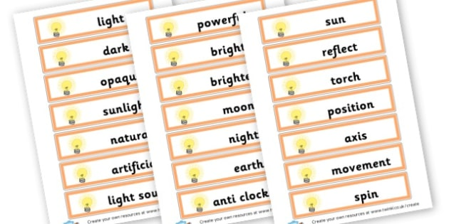 Science Light and Shadow Keywords - Light & Dark Primary Resources, light and dark, topic, day, night