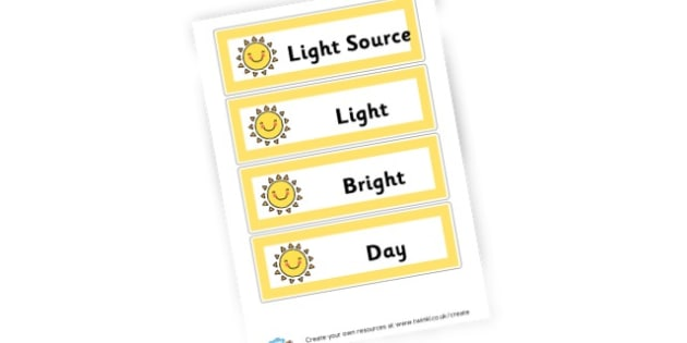 Light and Dark Display Words - Light & Dark Primary Resources, light and dark, topic, day, night
