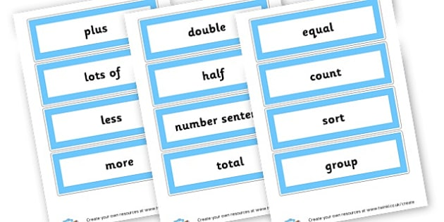KS1 Maths Word Cards - Primary Resources Maths, maths vocab, cards, math, numbers, count