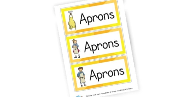 Aprons Labels - Cooking Area Primary Resources, sign, area, zones, banner, poster