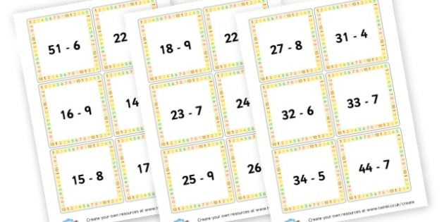 Subtraction Number Sentence Cards - Subtraction Primary Resources, minus, less, activities, calculate