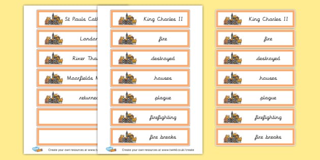 Great fire of London word cards - The Great Fire of London Primary Resources, Fire of London, Plague, Great, Grat, Fire