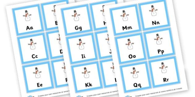 Snowman Alphabet Sheets - Winter Alphabet Primary Resources, letter, sounds, phonics, poster