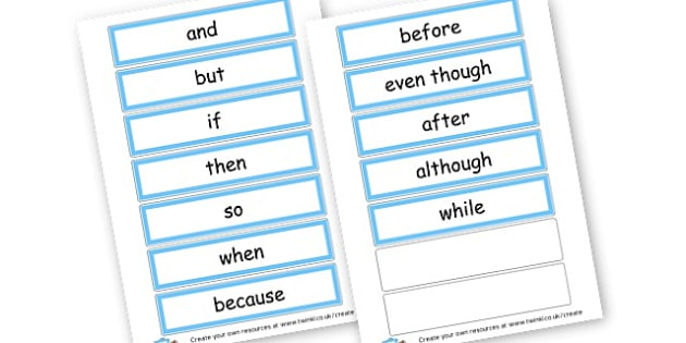 Conjunctions Cards - Words, cohesive device, Connectives, Cards