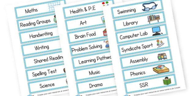 Class Timetable - Visual Timetables Primary Resources, Visual