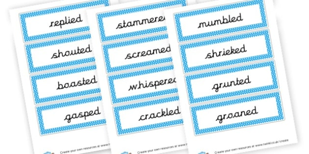 Alternative Words for Said Flashcards - Words & Vocab Primary Resources, literacy, keywords, cvc, phonemes