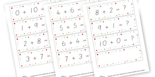 Number bonds to 10 Cards - Calculation Primary Resources, maths, add, subtract, calculation