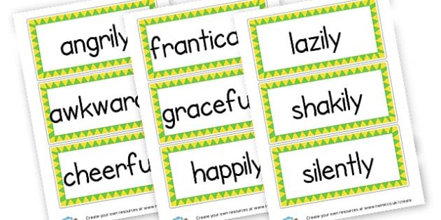 Adverbs of Time, Manner, Frequency Display Labels - KS2 Verbs and Adverbs Primary Resources, Verbs, Adverbs, KS2 Words