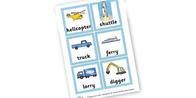 Vehicles Word Cards - Transport Literacy Primary Resources, letters, letter, sounds