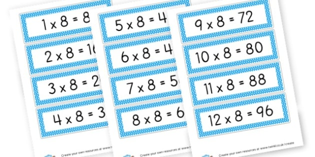 8 x Table Cards - Calculations Times Tables Primary Resources - KS2 Calculations Primary, Times, Tabe, Table, times table, times tables